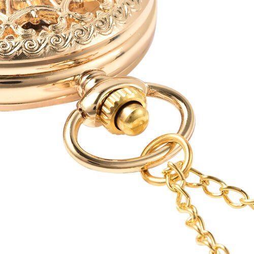 GENOA Automatic Mechanical Hollow-Out Pattern Pocket Watch with Chain in Gold Tone