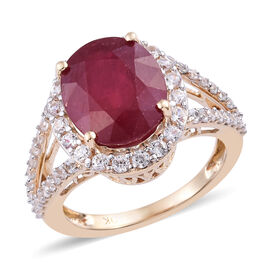 9K Yellow Gold AAA African Ruby (Ovl 12x10 mm), Natural Cambodian Zircon Ring 8.00 Ct.