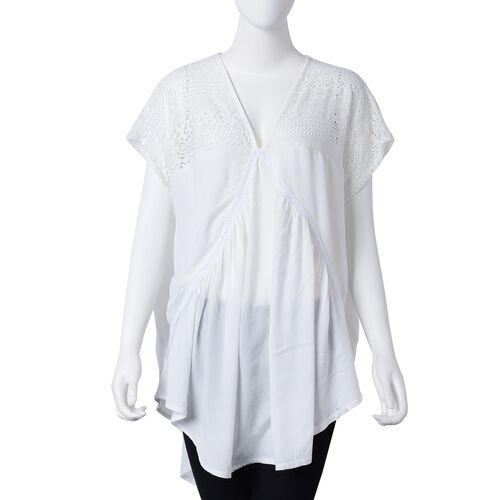 New Season- Cotton White Colour Apparel with Lace Shoulder (Size 85x65 Cm)