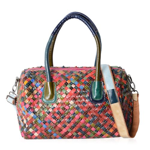 Morocco Collection - 100% Genuine Leather Multi Colour  Hand Woven Tote Bag with Removable Shoulder