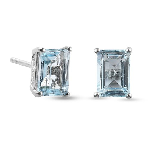Blue Topaz Earrings (with Push Back) in Platinum Overlay Sterling Silver 2.61 Ct.