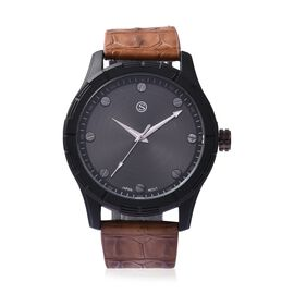 STRADA Japanese Movement Water Resistance Sporty Watch in Black Plating - Brown