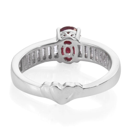 GP African Ruby (Ovl 1.58 Ct), White Topaz and Kanchanaburi Blue Sapphire Ring in Platinum Overlay Sterling Silver 2.250 Ct.
