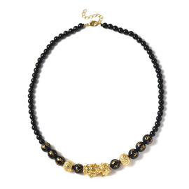 Black Obsidian Necklace (Size 18 with 2 inch Extender) in Yellow Tone