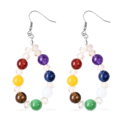 Simulated Champagne Diamond and Multi Gemstone Bead Drop Earrings in Silver Tone