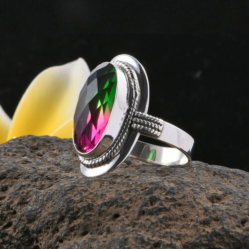 CHECKERBOARD CUT Royal Bali Collection Tourmaline Colour Quartz (Ovl) Ring in Sterling Silver 10.750 Ct. Silver wt 6.00 Gms.