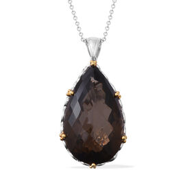 Collectors Edition - Extremely Rare Size Brazilian Smoky Quartz (Pear 50x30mm) Pendant With Chain (Size 30) in Rhodium Overlay with Gold Plating Sterling Silver 150 Cts, Silver wt 19.52 Gms.