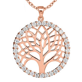 New York Close Out Sterling Silver Simulated Diamond Spritz  Tree-of-Life Pendant with Chain (Size 1