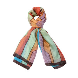 Close Out Deal- 100% Mulberry Silk Abstract Pattern Scarf (Size 175x105 Cm) - Blue and Orange