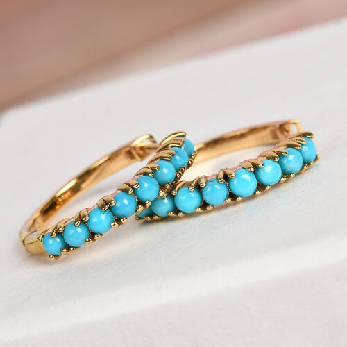 Arizona Sleeping Beauty Turquoise Earrings (with Clasp) in 14K Gold Overlay Sterling Silver 1.25 Ct.