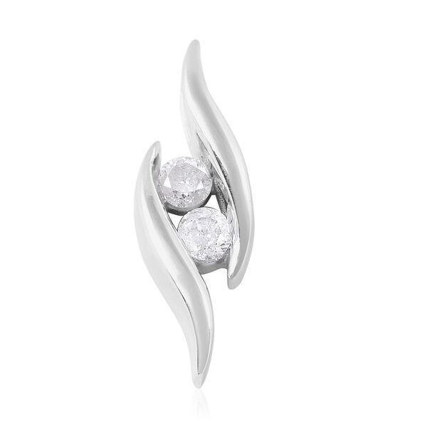 9K White Gold 0.20 Ct Diamond 2 Stone Pendant SGL Certified (I3/G-H)