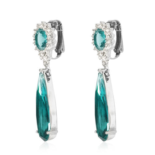 Designer Inspired- Simulated Blue Tourmaline (Pear), White Austrian Crystal Drop Earrings (with Clasp Clip) in Stainless Steel