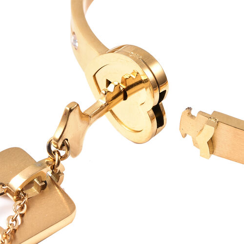 Set of 3 - White Austrain Crystal Heart Lock Bangle (Size 7.5) and Key Design Pendant with Chain (Size 24) in Yellow Gold Plated Stainless Steel
