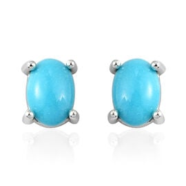 Sleeping Beauty Turquoise Solitaire Stud Push Post Earring in Platinum Overlay Sterling Silver 1.05