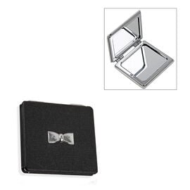Designer Inspired- Compact Mirror with Silver Bow - Black Colour