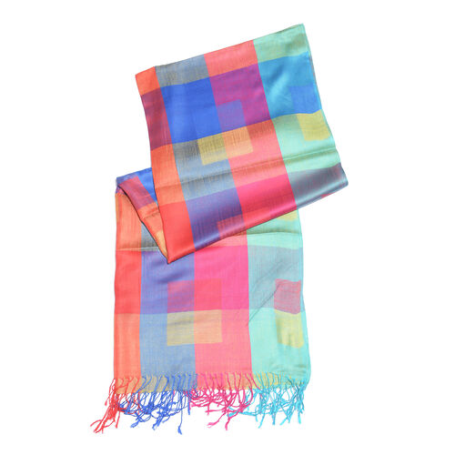 Turquoise, Yellow and Multi Colour Checks Pattern Scarf with Fringes (Size 190X70 Cm)