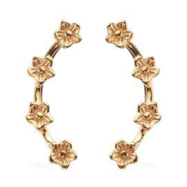 14K Gold Overlay Sterling Silver Flower Climber Earrings