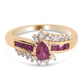Burmese Ruby and Natural Cambodian Zircon Bypass Ring in 14K Gold Overlay Sterling Silver 1.28 Ct.