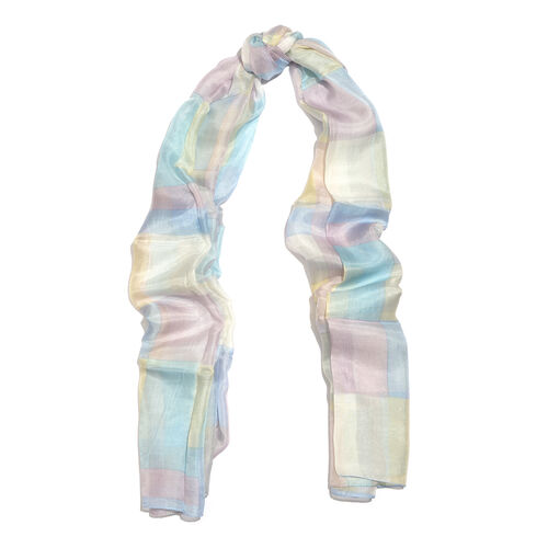 100% Mulberry Silk Blue, Pink and Multi Colour Handscreen Printed Scarf (Size 170X180 Cm)