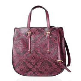 Limited Collection Dark Purple Colour Tote Bag Damask Embossed with Removable Shoulder Strap (Size 3