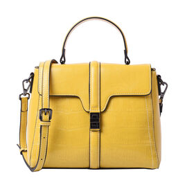 Sencillez Croc Embossed 100% Genuine Leather Convertible Bag in Yellow