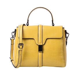 Sencillez Croc Embossed 100% Genuine Leather Convertible Bag in Yellow