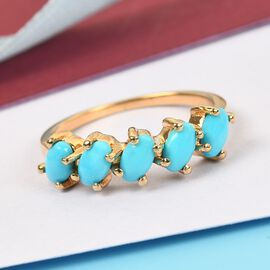 Arizona Sleeping Beauty Turquoise 5 Stone Ring in 14K Gold Overlay Sterling Silver 1.500 Ct.