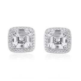 ELANZA Simulated White Diamond (Asscher Cut) Earrings (with Push Back) in Rhodium Overlay Sterling S