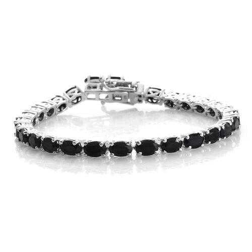 Boi Ploi Black Spinel (Ovl) Tennis Bracelet (Size 7) in Platinum Overlay Sterling Silver 19.750 Ct. Silver wt. 11.15 Gms.
