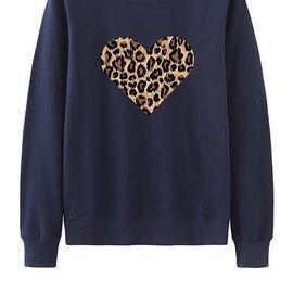 Kris Ana Leopard Heart Sweatshirt - Navy