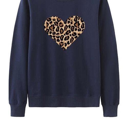 Kris Ana Leopard Heart Sweatshirt (Size S/ 8-10) - Navy