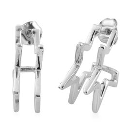 Sundays Child Platinum Overlay Sterling Silver Star Hoop Earrings (with Push Back)