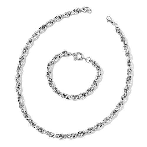 Princess of Wales Necklace (Size 20) and Bracelet (Size 8.50) in Stainless Steel with Silver Plating
