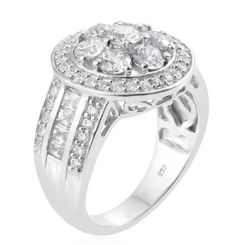 J Francis - Platinum Overlay Sterling Silver (Rnd) Ring Made with SWAROVSKI ZIRCONIA, Silver wt 7.63 Gms.