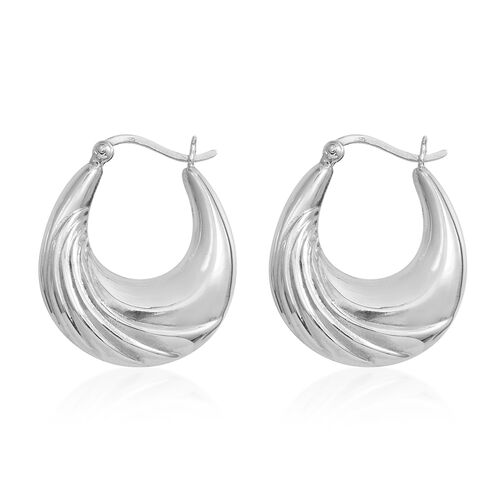 Rhodium Plated Sterling Silver Hoop Earrings (with Clasp Lock), Silver wt 5.70 Gms.