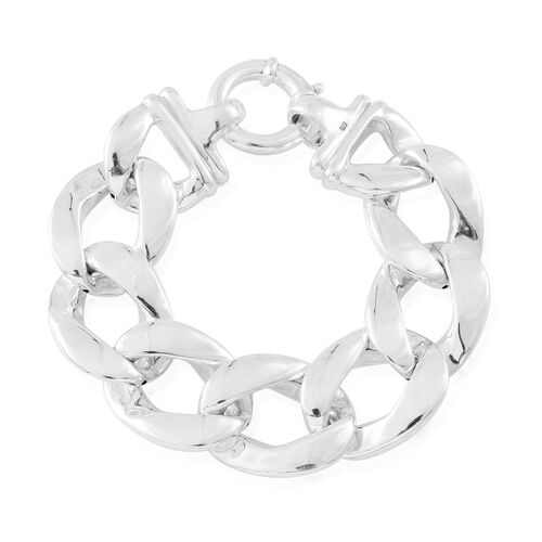 Vicenza Collection Designer Inspired Sterling Silver Flat Curb Bracelet (Size 7.75), Silver wt 29.50