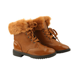 Warm Faux Fur Ankle Boots - Camel
