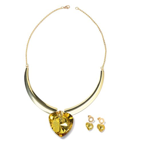 Set of 2 Simulated Citrine (Hrt) BIB Necklace (Size 20) and Earrings (with Push Back) in Yellow Plated