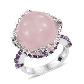 GP Rose Quartz (Rnd 22.00 Ct), Amethyst and Kanchanaburi Blue Sapphire Ring in Platinum Overlay Sterling Silver 23.000 Ct.