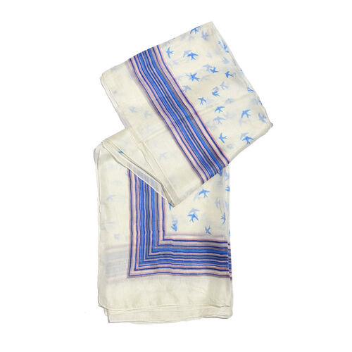 100% Mulberry Silk Cream, Blue and Multi Colour Handscreen Birds and Stripe Pattern Scarf (Size 170x100 Cm)