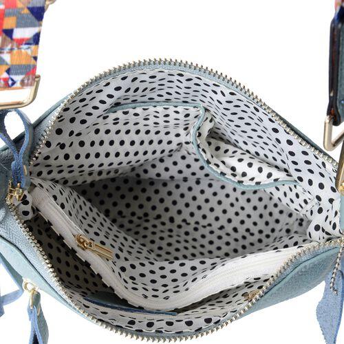 Super Soft 100% Genuine Leather Sky Blue Colour Crossbody Bag with External Zipper Pocket and Rainbow Strap (Size 25x23x8 Cm)