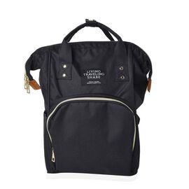 Black Colour Multi Pocket Backpack with Zipper Closure and Adjustable Shoulder Strap (Size 36x12x27