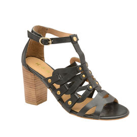 Ravel Jackson Leather Heeled Sandals in Black Colour