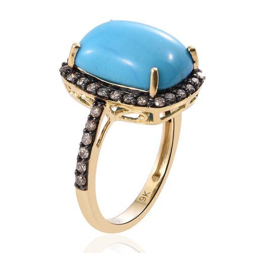 9K Yellow Gold 6.50 Ct AA Arizona Sleeping Beauty Turquoise Ring with Natural Champagne Diamond