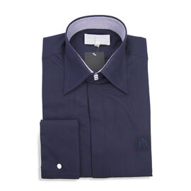 William Hunt - Saville Row Forward Point Collar Dark Blue Shirt Size 15