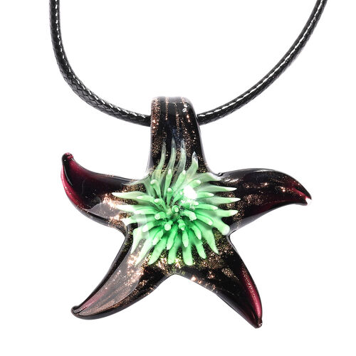 Green Murano Glass Starfish Pendant with Chain (Size 24 with 2 inch Extender)