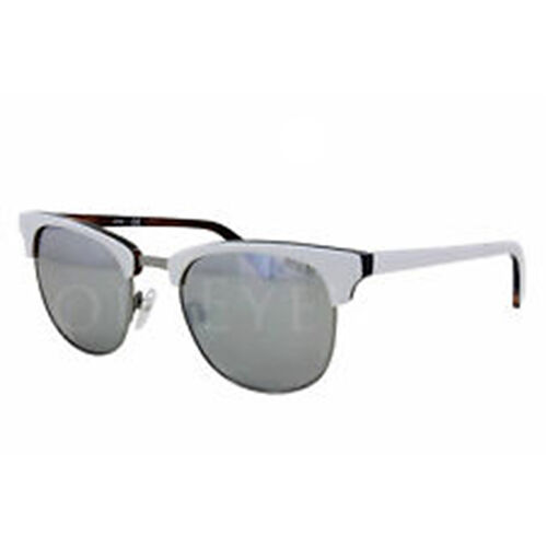 WHITE UNISEX CLUBMASTER SUNGLASSES WITH SILVER LENSES