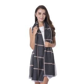 Italian Designer Inspired  Wool - Rich Grey Colour Chequer Pattern Shawl (Size 180x68 Cm)