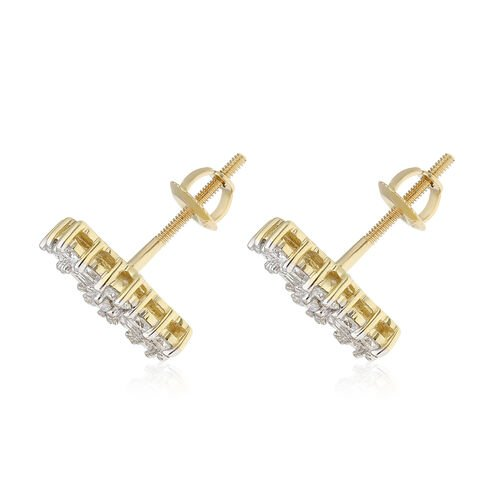 ILIANA 18K Yellow Gold IGI Certified (SI/G-H) Diamond (Bgt and Rnd) Earrings (with Screw Back) 1.00 Ct.