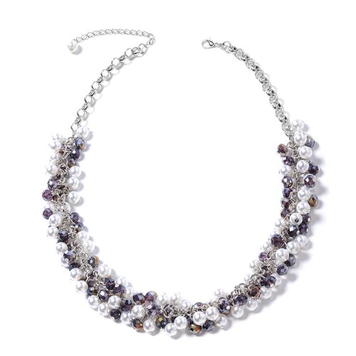 Simulated Pearl (Rnd), Simulated Amethyst Beads Necklace (Size 20) in Silver Bond.